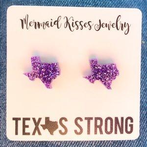 Jewelry - 🛑4/$20🛑 Texas Stud Earrings Purple TCU Glitter